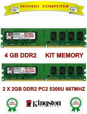 4 Gb Ddr2 (2 X 2Gb) Kit Memory Ram 5300U 667 Mhz Non Ecc Alta Densità Kingston