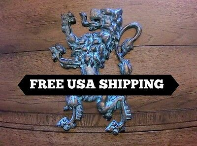 Lion, Wall Plaque, Medieval, Old World, Metal Art, Hand Painted, King, Royal