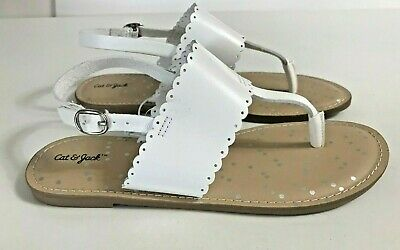 9c88cd36b9c6 Youth Girl s Cat   Jack Rosie Scalloped Thong White Sandals Size ...