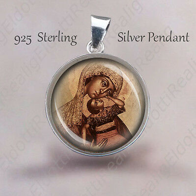 MADONNA AND CHILD Medal 925 Sterling Silver Theotokos Christian Pendant