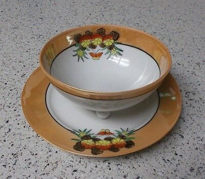 Vtg Japan Art Deco Luster Whip Cream Mayo Bowl + Underplate Butterflies Flowers