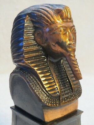 Vintage King Tut Pharoah Bust Statue on Wood Base Heavy Coppertone Metal 6.5""