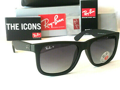 Ray-Ban Justin Polarized Black Ray-Ban With Grey Gradient Lenses Size 54 Unisex