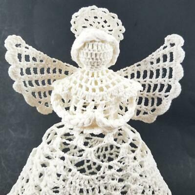Vintage Crocheted Angel Christmas Tree Topper 10 Starched Mid