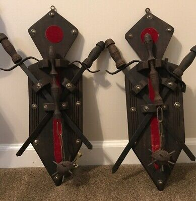 Vintage Renaissance Medieval Hanging Swords Flail Spike Ball Weapon Wall Plaques