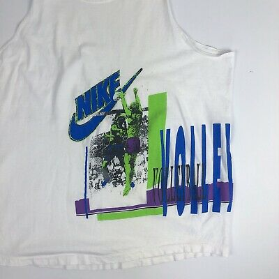 aded49371c07c VINTAGE NIKE GREY 80s Tag Volleyball Graphic White T Shirt USA Made Size XL