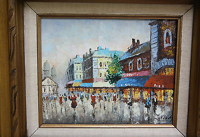 Vintage Mexico City Street Scene Impressionist Signed Oil Painting Wood Frame