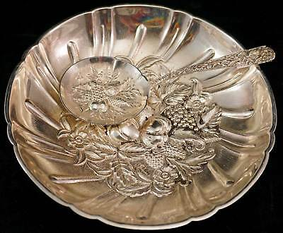 Kirk & Son Repousse Fruit Sterling Silver Footed Bonbon Candy Bowl Dish & Spoon