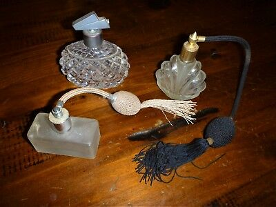 3 x OLD PERFUME BOTTLES... 2 with Tasselled Atomisers