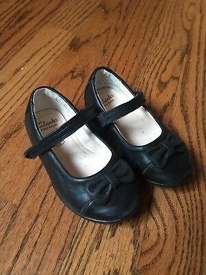 Girls Clarks First Shoes Black Bows Mary Jane Toddler US Childrens 5.5c