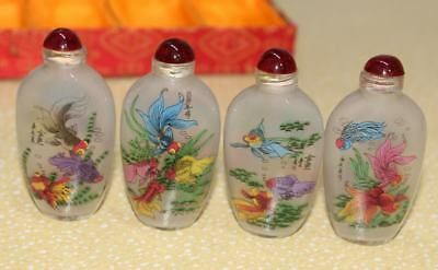 Exquisite Inner painting Glodfish Glass Snuff Bottle