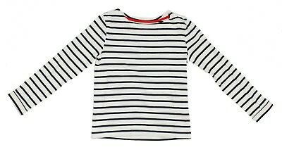 Boden Girls Size 7-8Y Navy Blue White Striped Long Sleeve Shirt