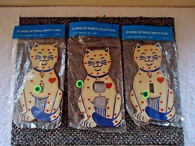 """Vtg. Lot Of 3 """" NOS 1987 M.S.R.Imports Plywood Cat Shaped Switch & Outlet Plates"""