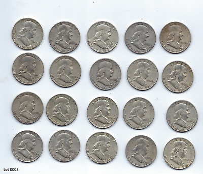 1 ROLL ((20 Coins $10)) Franklin Half Dollars , 90% Silver Coin Lot, Circulated