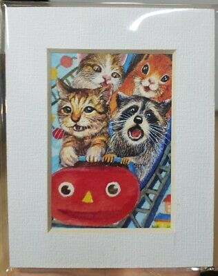 ACEO Print with Frame Painting Art Gift Card Cat Squirrel Raccoon Fun Park