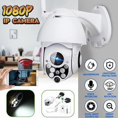 1080P Waterproof WiFi PTZ Pan Tilt HD Security IP IR Camera Night Vision W/LED