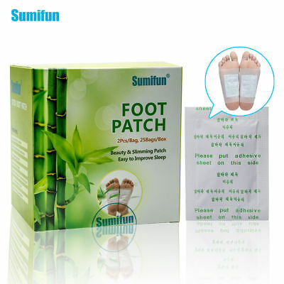 50 Pcs Sumifun Kinoki Detox Foot Pad Patch Bamboo Herbal Stress Relief Plaster