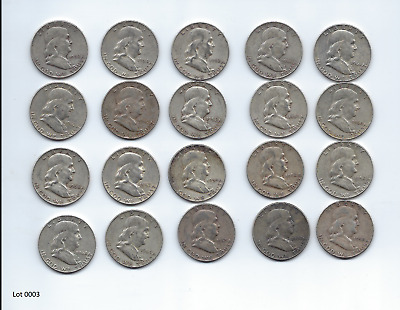 1 ROLL {20 Coins $10} Franklin Half Dollars , 90% Silver Coin Lot, Circulated