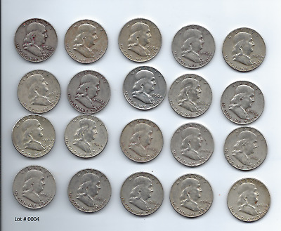 1 ROLL -20 Coins- $10 Franklin Half Dollars , 90% Silver Coin Lot, Circulated