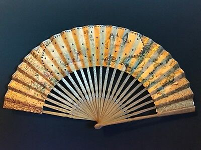 Beautiful Antique French Hand Painted Victorian Paper Fan Cupid & Lover