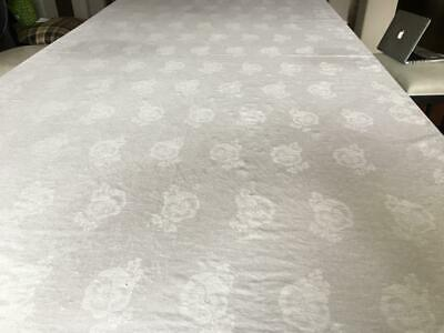 """Tablecloth 85 x 71"""" White DAMASK Rectangle Pansy Flowers larger on 16"""" borders"""