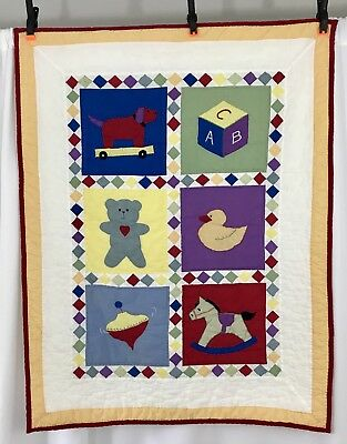 Handmade Baby Sampler Quilt Crib Blanket Nursery Wall Hanging Duck Bear Horse