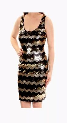dress women party event wedding evening prom  Guess Size 4S gold and black shiny