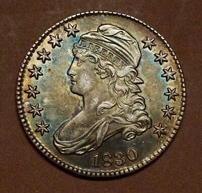 1830 Capped Bust Half Dollar O.107.  AU-UNC.  Beautiful Album Toning