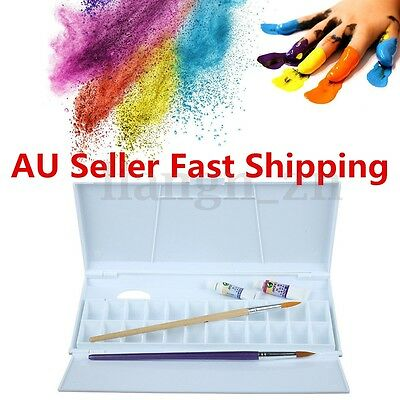 24 Compartments Plastic White Artist Paint Mixing Pallette Oil Watercolor Tray