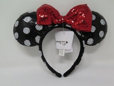 New Disney Parks Minnie Black and Red Bow Sequins Ear Plush Headband Ears