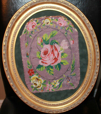 Oval Wall Framed Rose Floral Antique Vintage Art Deco glass Bead Needle Work=