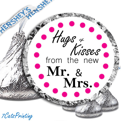 108 Hershey Kiss Wedding Party Favors Stickers Hugs & Kisses from the new Mr Mrs