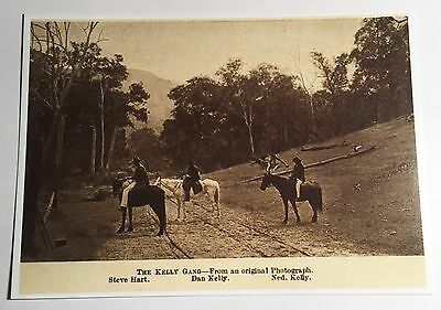 """NED KELLY Old """"The Kelly Gang"""" From Original Picture, Post Card. Bushrangers"""