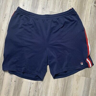cf1bd260644f Fila Short Knee Shorts Men s Size Large Blue W  Red Stripe Soccer Athletic  CLEAN