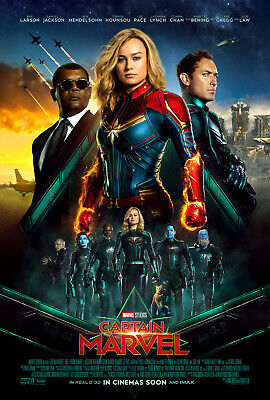Y216 Captain Marvel 2019 Movie Brie Larson Art Sikl Poster Custom 36 32x48inch