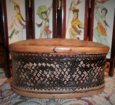 Antique Asian Woven Betel Nut Keepsake Box- Rare Outstanding Example