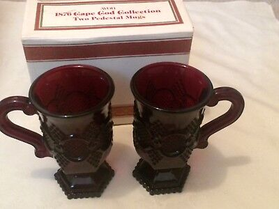 Lot 2 Vintage Avon 1876 Cape Cod Ruby Red Glass Footed Latte / Coffee Mugs
