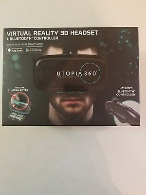 ReTrak Utopia 360 Virtual Reality 3D Headset Bluetooth Controller Apple Android