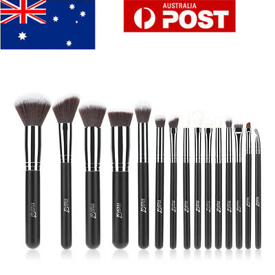 MSQ 15Pcs Pro Face Powder Makeup Brushes Set Eyeshader Blending Highlight Tools