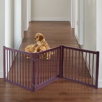 "24"" Pet Fence Gate Free Standing  Dog Gate Indoor Solid Wood Construction"