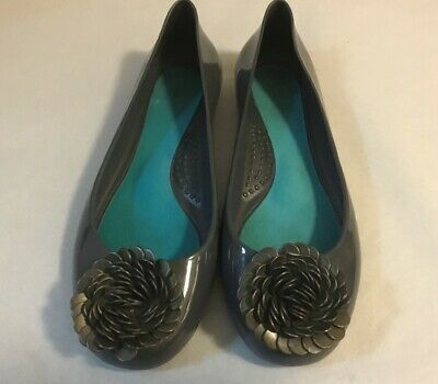 b7b3dbed3 Okabashi Oka-B Grey Ballet Flats Shoes Jelly Shoes With Beaded Flower Size  8 38