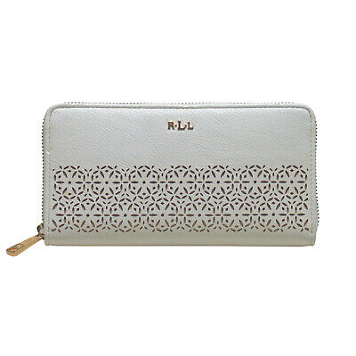 RALPH LAUREN Laser Cut Perforated Chantilly Zip Around White Clutch Wallet • NEW