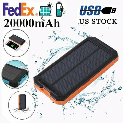 Waterproof 20000mAh Dual USB Portable Charger Solar Power Bank For Cell Phone UT