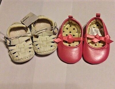 2 Pairs Baby Girls Shoes Sz 2 White Circo Sandals 3-6 Mon Pink Carters Slippers
