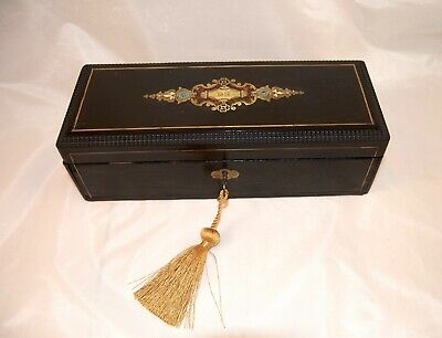 Fr. Antique Gants/Glove Box w/Boulle Brass/shell Inlay-Elegant Corporate Gift