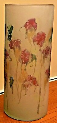 "Vintage Art Glass Vase Israel Hebron LARGE 12""x5"" Hand Painted Red Green Yellow"