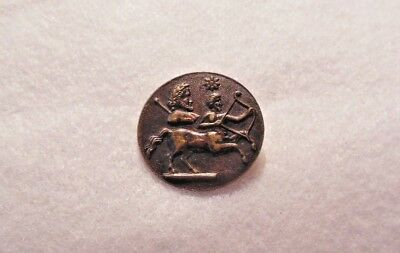 Collectible antique Bohemian press stamped Roman Trajan Denarius metal button