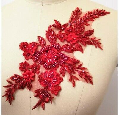 1Pcs Flower Embroidery Beaded Lace Applique Wedding Dress Fabric Sewing Patch