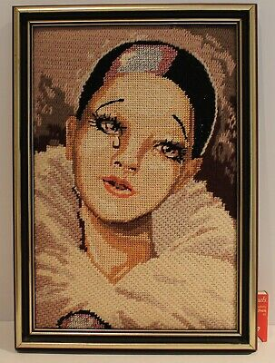 Vintage Crying Pierrot Clown Tapestry Colour Wool Wood Gold Frame Hand Crafted *