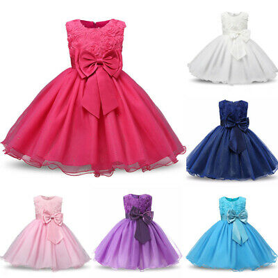 2019 FLOWER GIRL Princess Dress Kid Baby Party Wedding